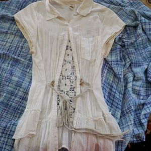 Free People Button Down Crocheted Blouse